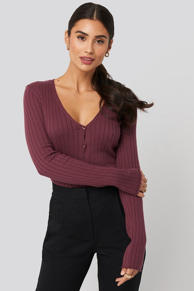 Ribbed Knitted Button Top Plum