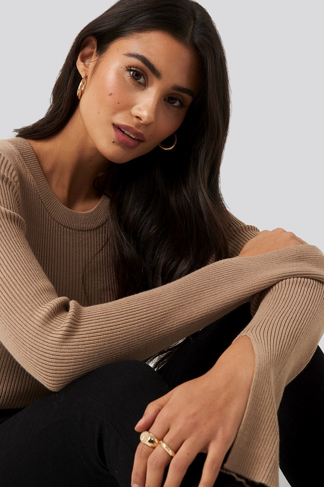 Sleeve Slit Rib Knitted Top Almond