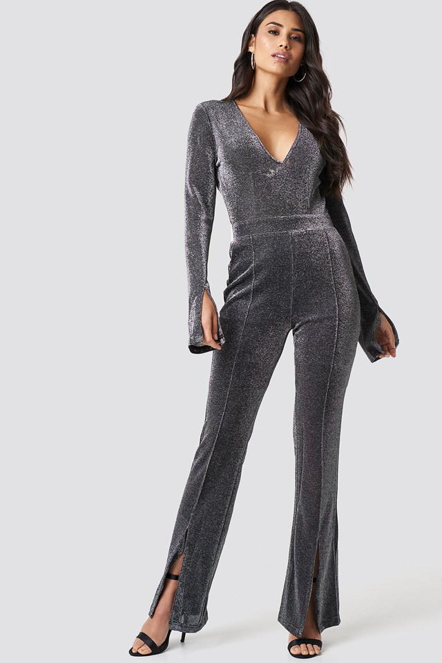 Sparkly Deep V Jumpsuit Black