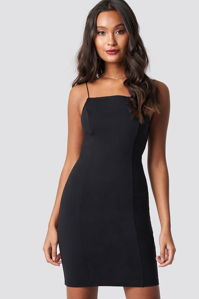 Thin Strap Bodycon Dress Black
