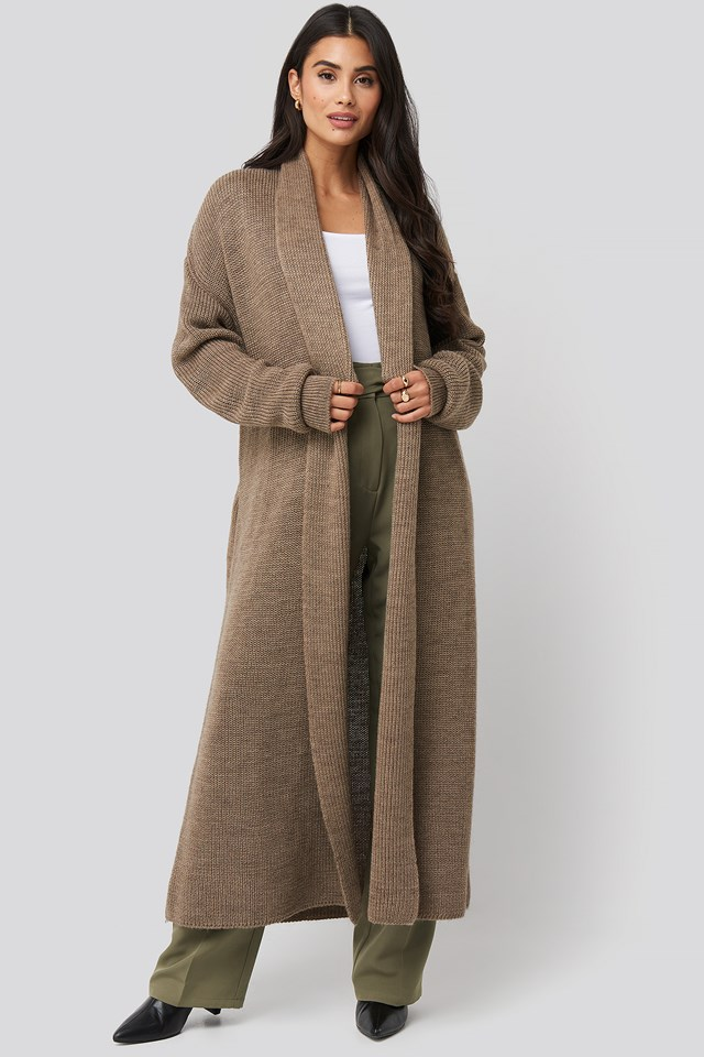 Tie Waist Oversized Knitted Cardigan Almond