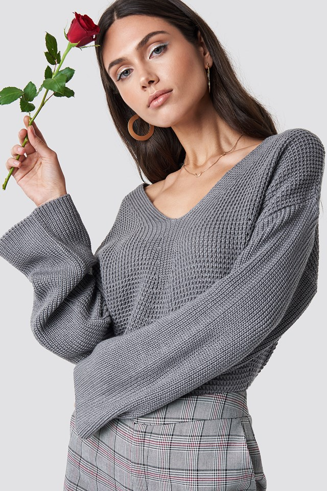 V Neck Knitted Sweater Grey