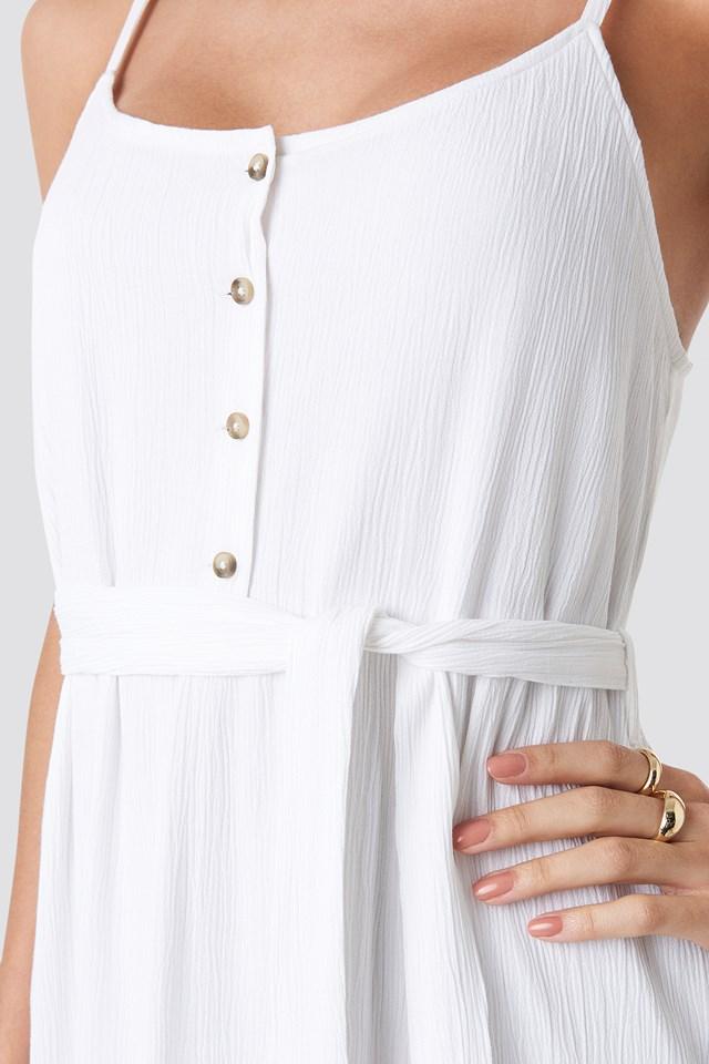 Crochet Detail Midi Dress White