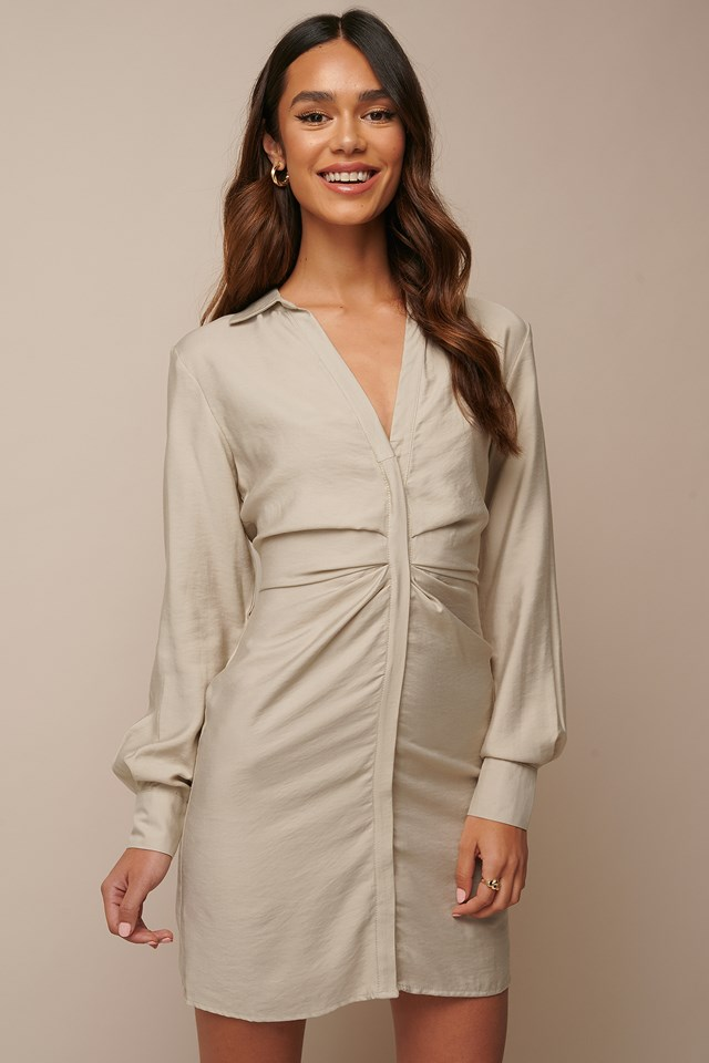 Draped Shirt Dress Beige