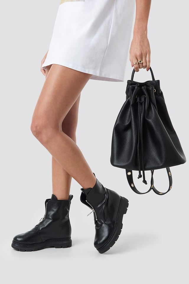 Faux Leather Buckle Detailed Bag Black