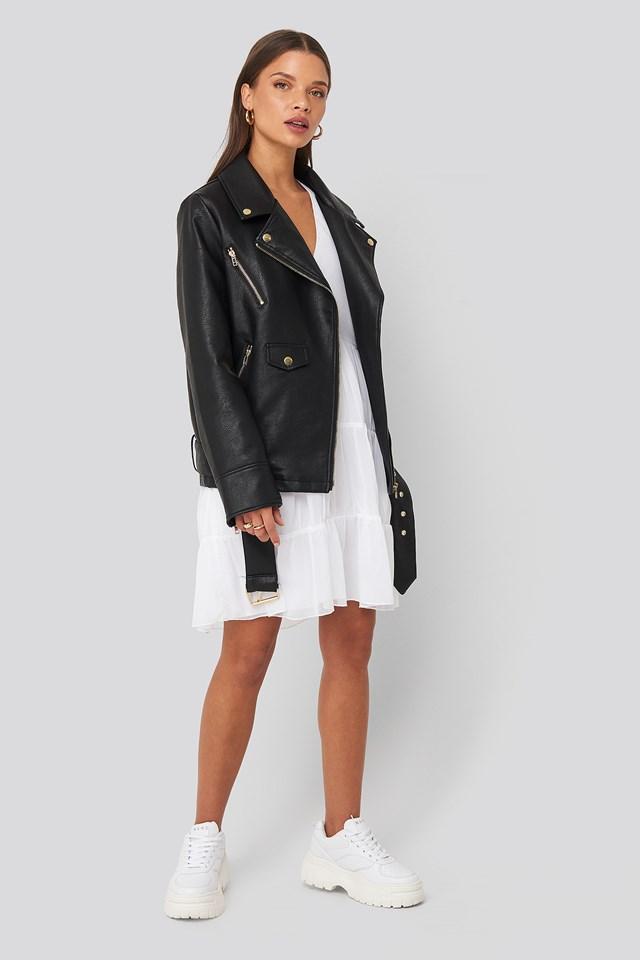 Asymmetric Frill Chiffon Dress White
