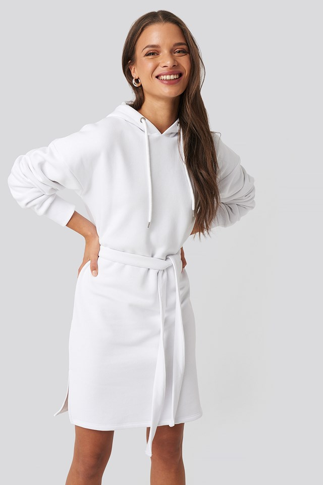 Belted Hoodie Dress White