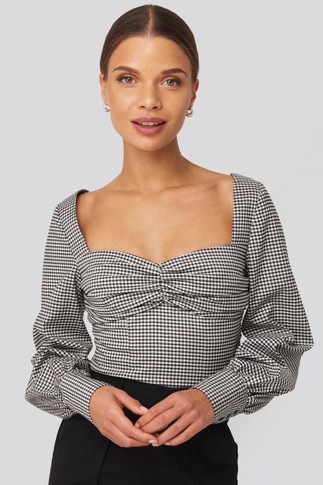 Checked Tied Back Blouse Check Print