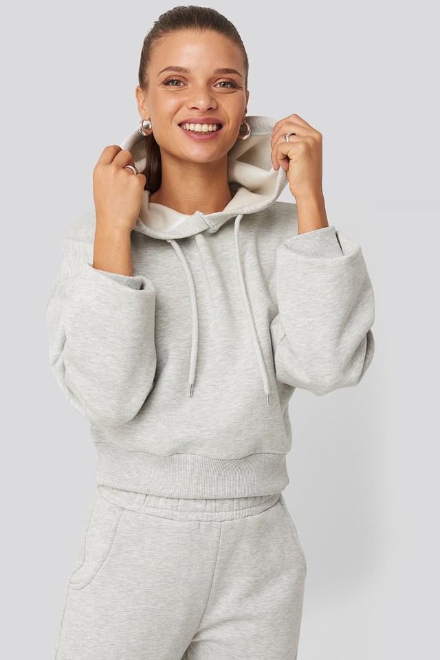 Cropped Basic Hoodie Grey
