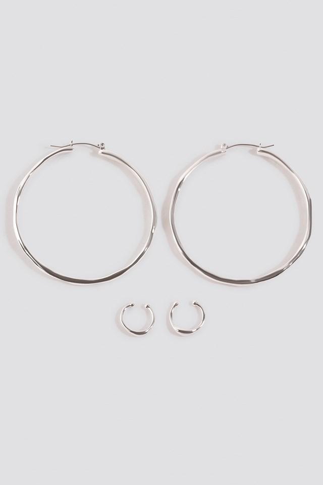 Round Flowy Earrings Set Silver