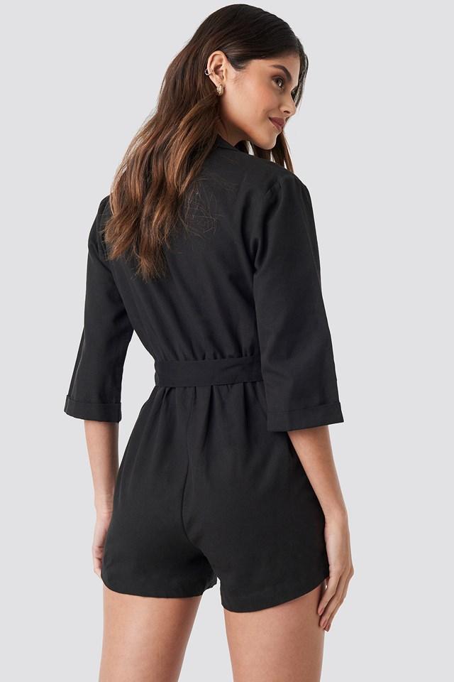 Front Button Linen Look Playsuit Black