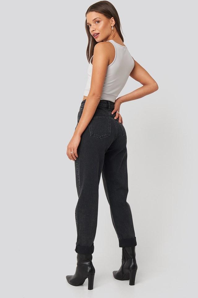 Highwaisted Folded Hem Jeans Black