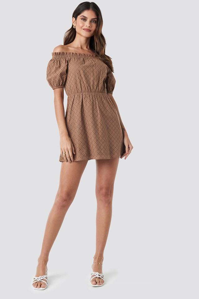Off Shoulder Puffy Sleeve Dress Brown