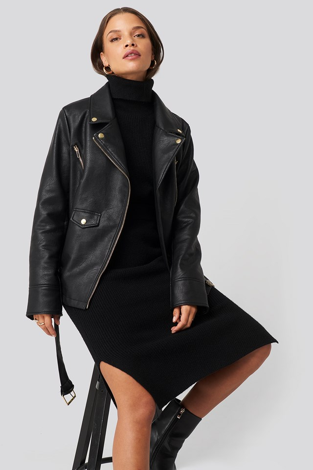 Oversized Detail Faux Leather Jacket Donnaromina x NA-KD