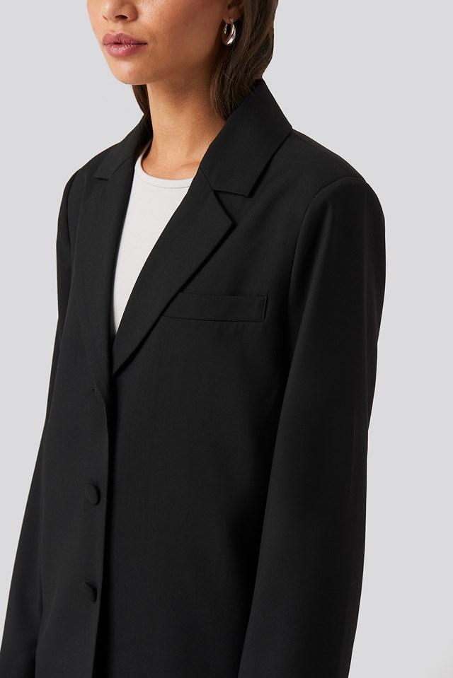 Oversized Straight Shape Blazer Black