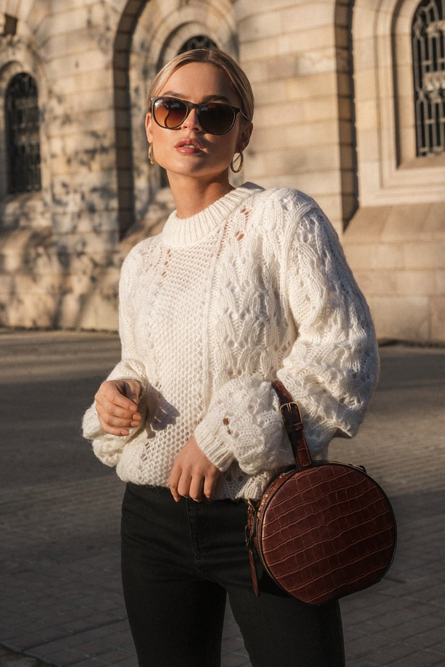 Pattern Knitted Sweater Off White
