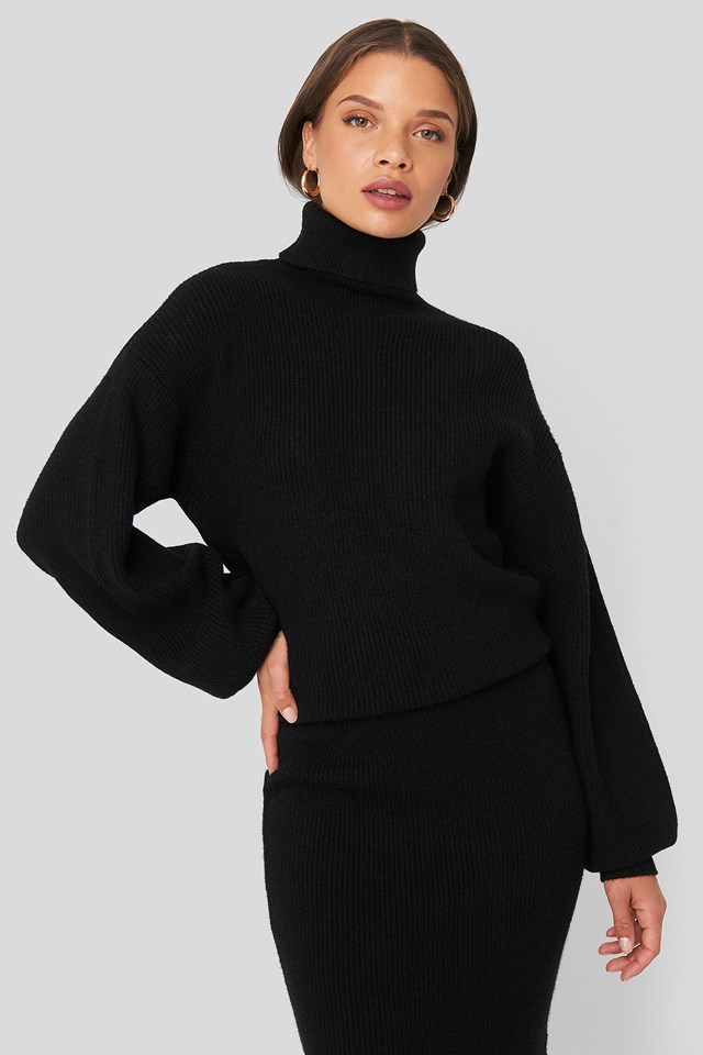 Polo Neck Ribbed Knit Sweater Black