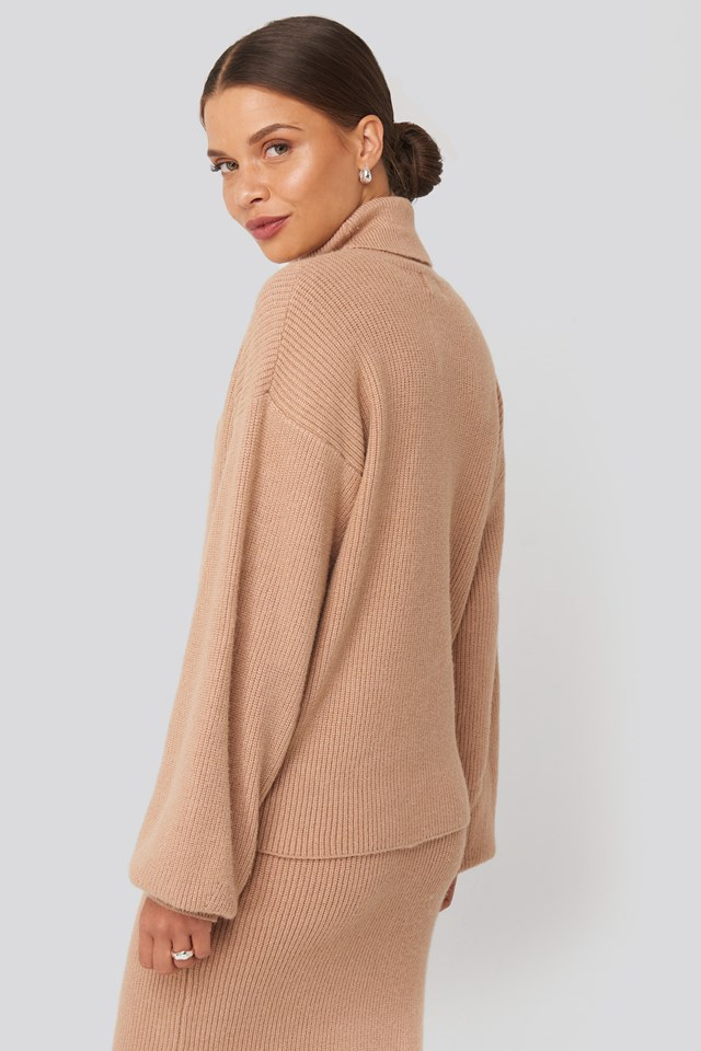 Polo Neck Ribbed Knit Sweater Taupe Beige