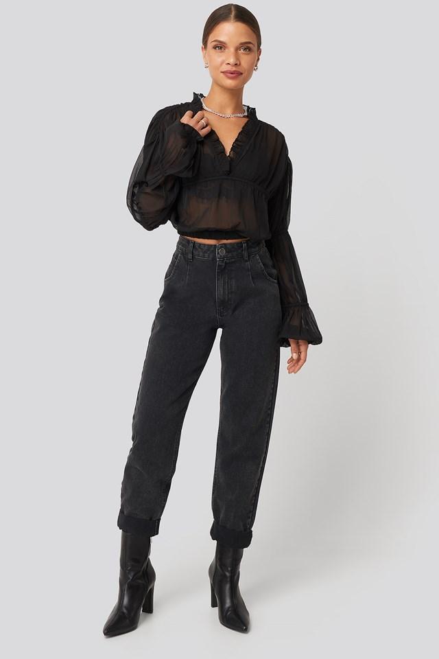 Puffy Sleeve Cropped Chiffon Blouse Black