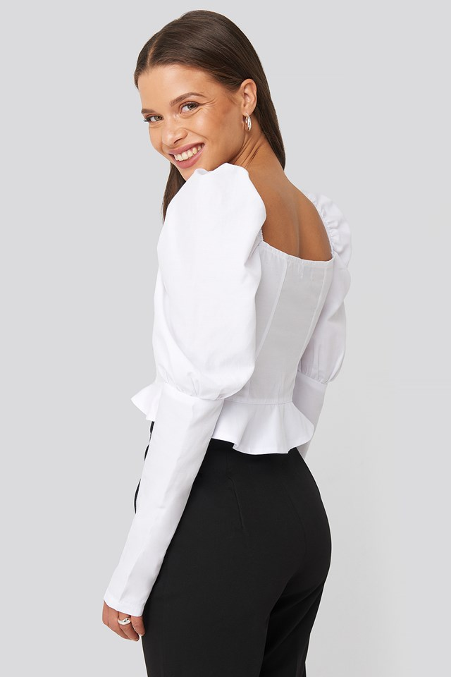 Puffy Sleeve Ruffle Cup Blouse White