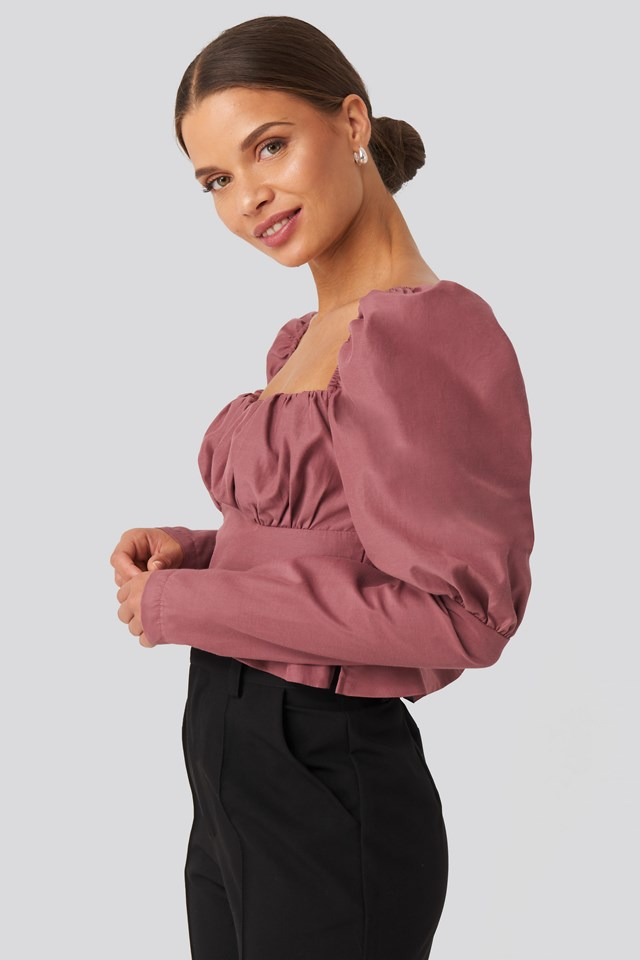 Puffy Sleeve Ruffle Cup Blouse Dusty Pink Rose