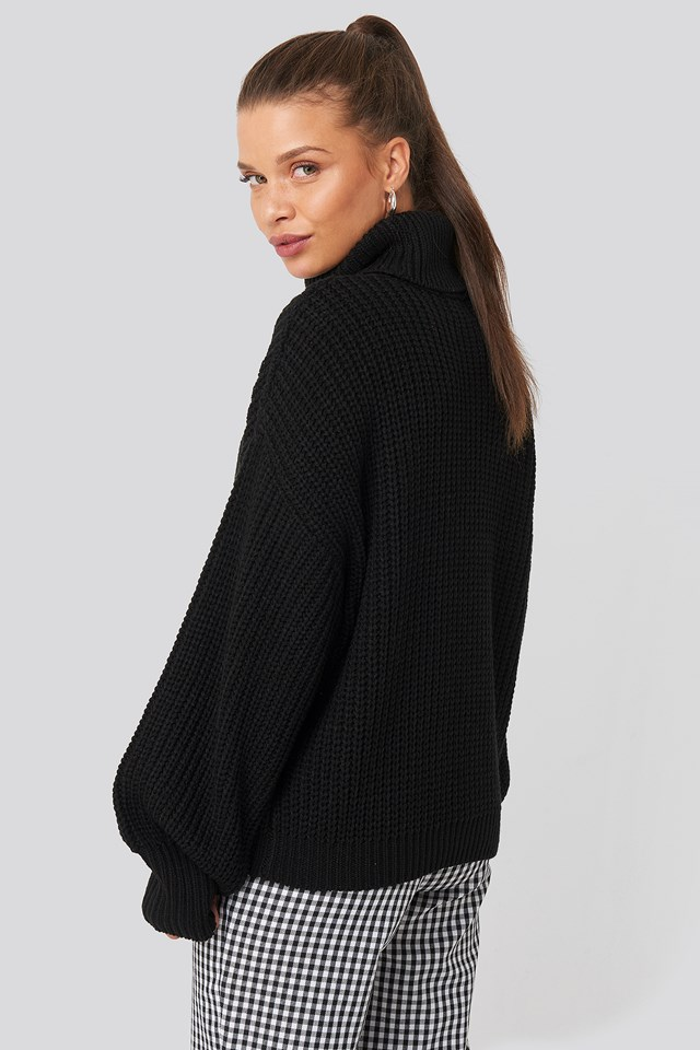 Ribbed Polo Cable Knit Sweater Black