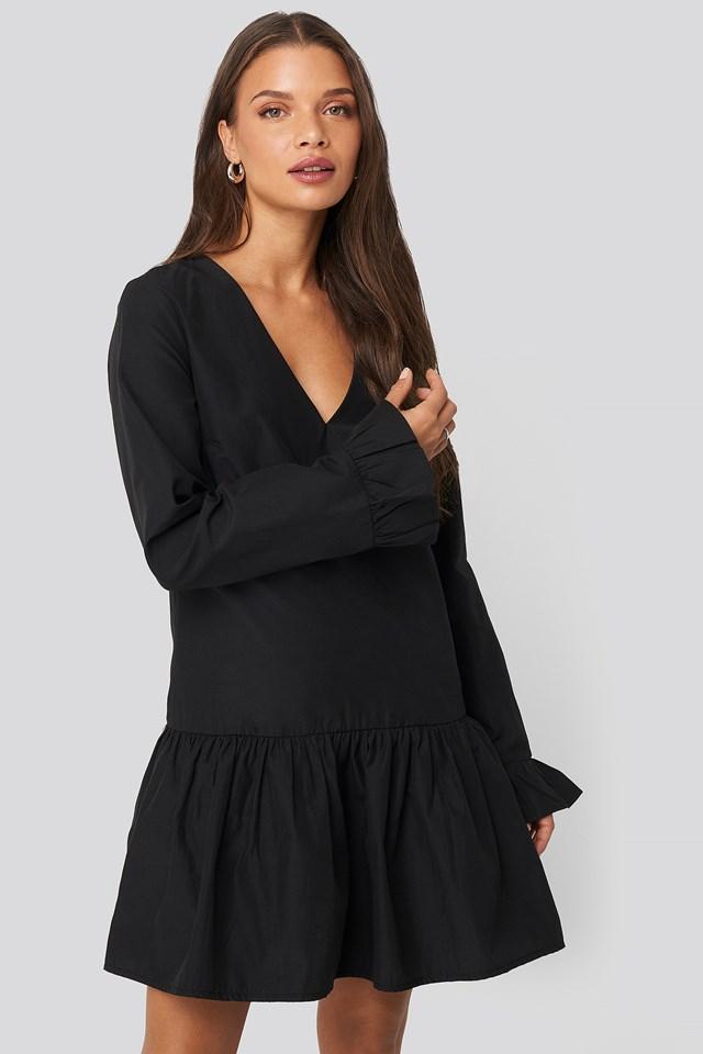 V-neck Frill Dress Black