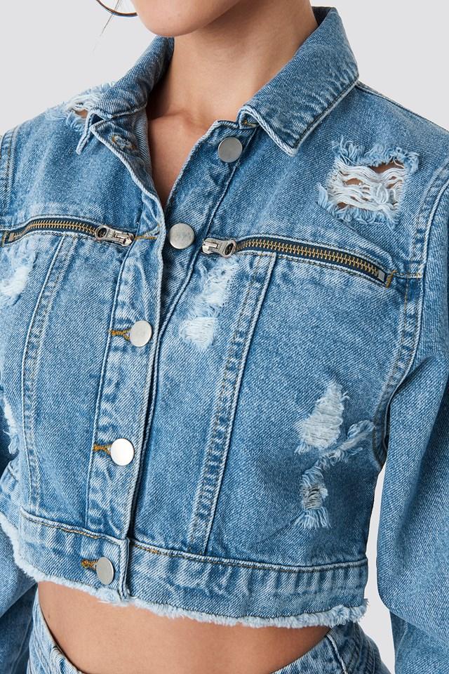 Zip Pocket Denim Jacket Light Blue