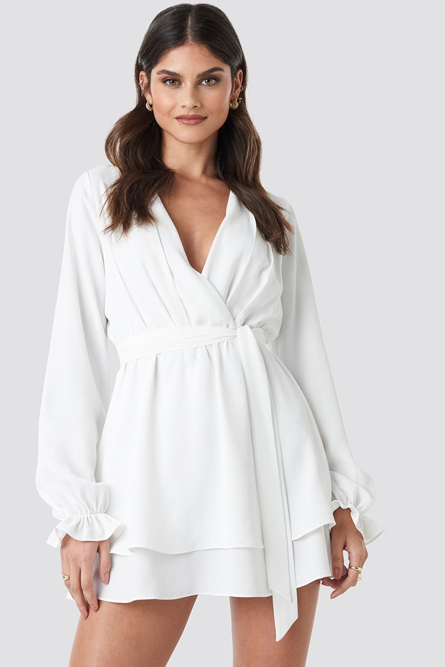 V-Neck Tied Front Flowy Dress White