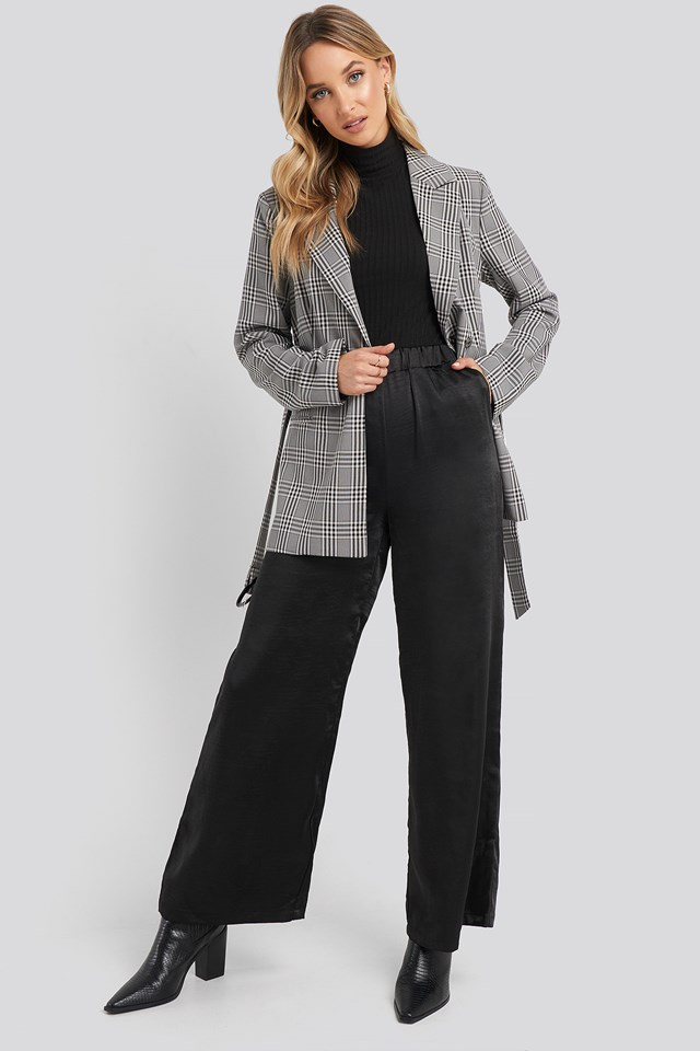 Bell Trousers Black Satin