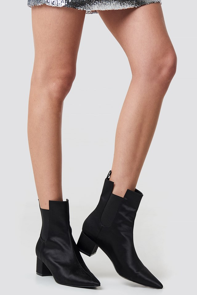 Satin Ankle Boots Black