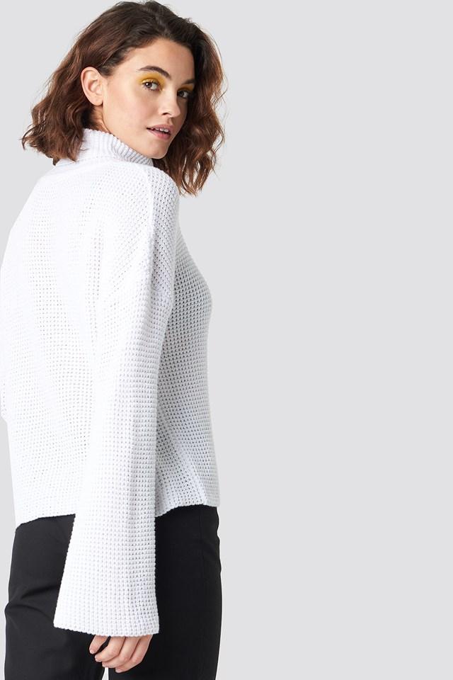 Dropped Shoulder Polo Knit White