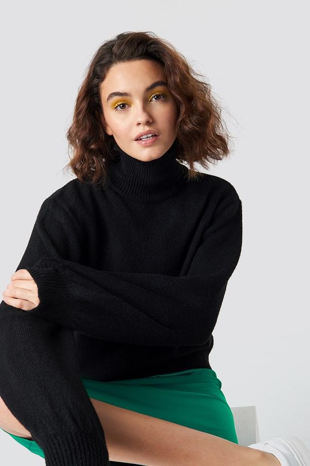 High Neck Balloon Sleeve Knit Black