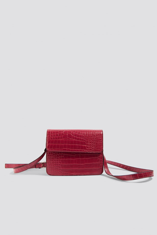 Crocodile Long Strap Bag Red