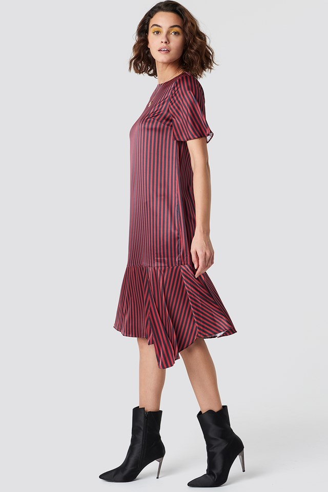 Pinstripe Satin Dress Emilie Briting x NA-KD