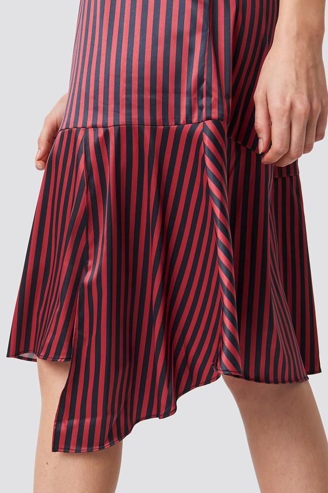 Pinstripe Satin Dress Black/ Red stripe