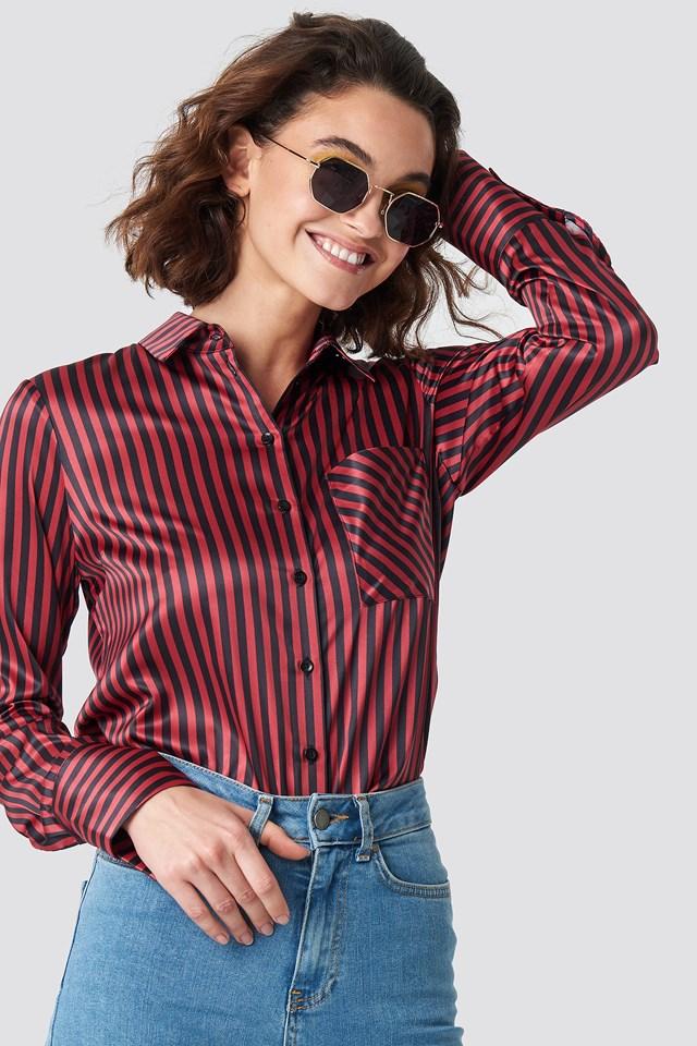 Pinstripe Satin Pocket Shirt Emilie Briting x NA-KD