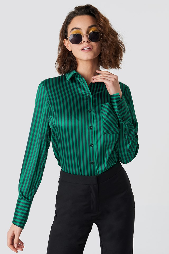 Pinstripe Satin Pocket Shirt Black/Green Stripe