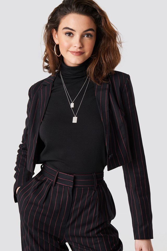 Pinstriped Cropped Blazer Black/Red