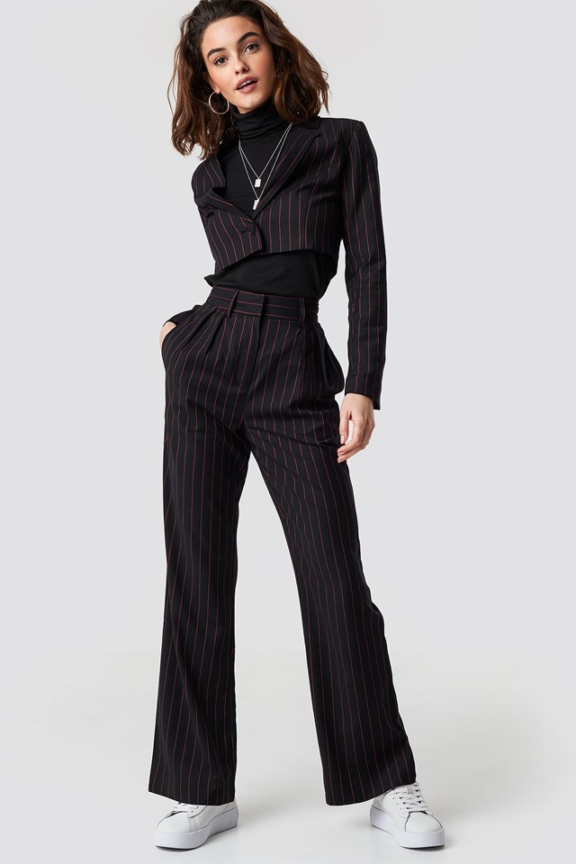 Pinstriped Cropped Blazer Black/Red