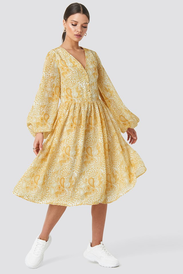 Printed Midi Dress Yellow Paisley