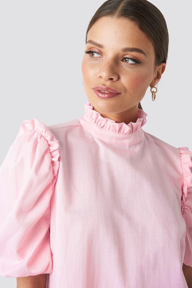 Puff Sleeve Mini Dress Pink