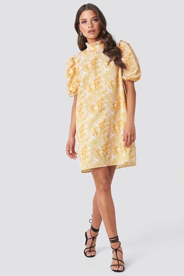 Puff Sleeve Mini Dress Yellow Paisley