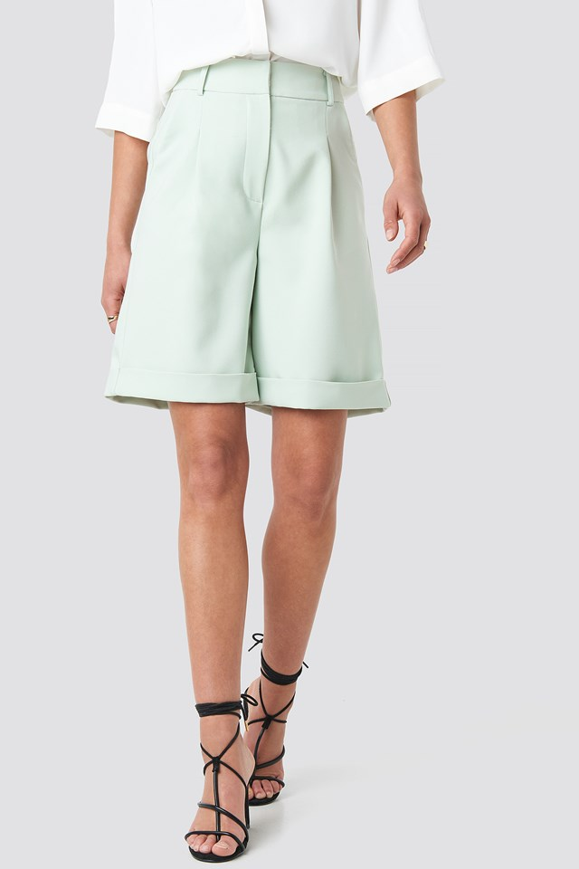 Wide Leg City Shorts Mint
