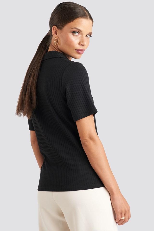 Button Up T-shirt Black