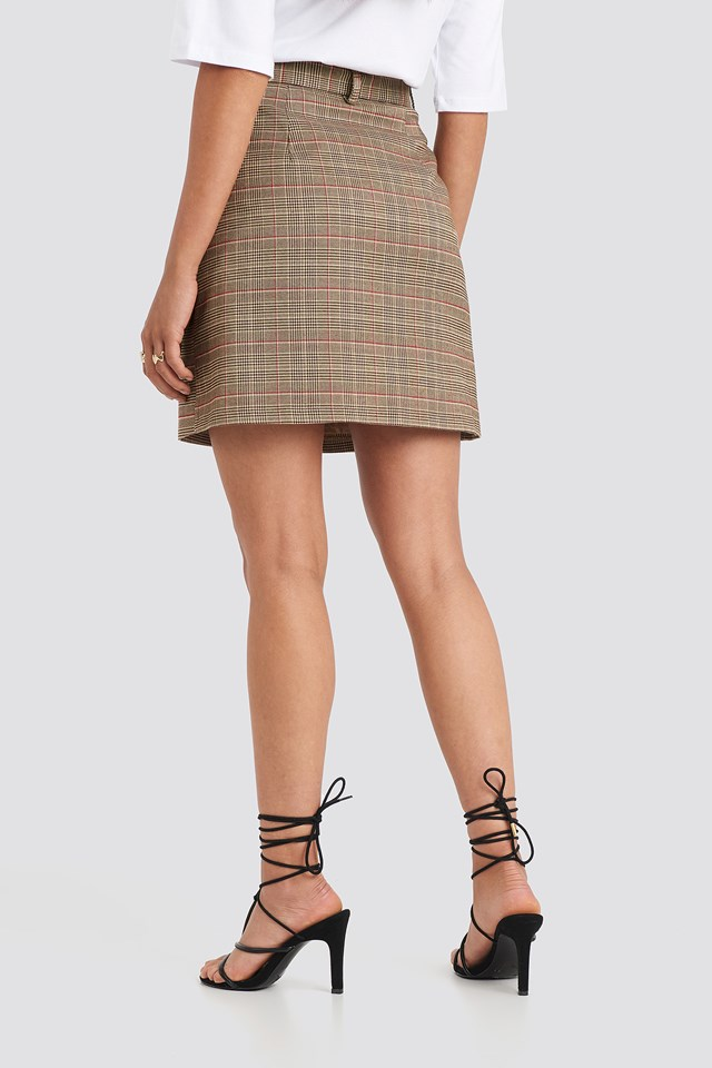Front Pocket Checked Skirt Checkered