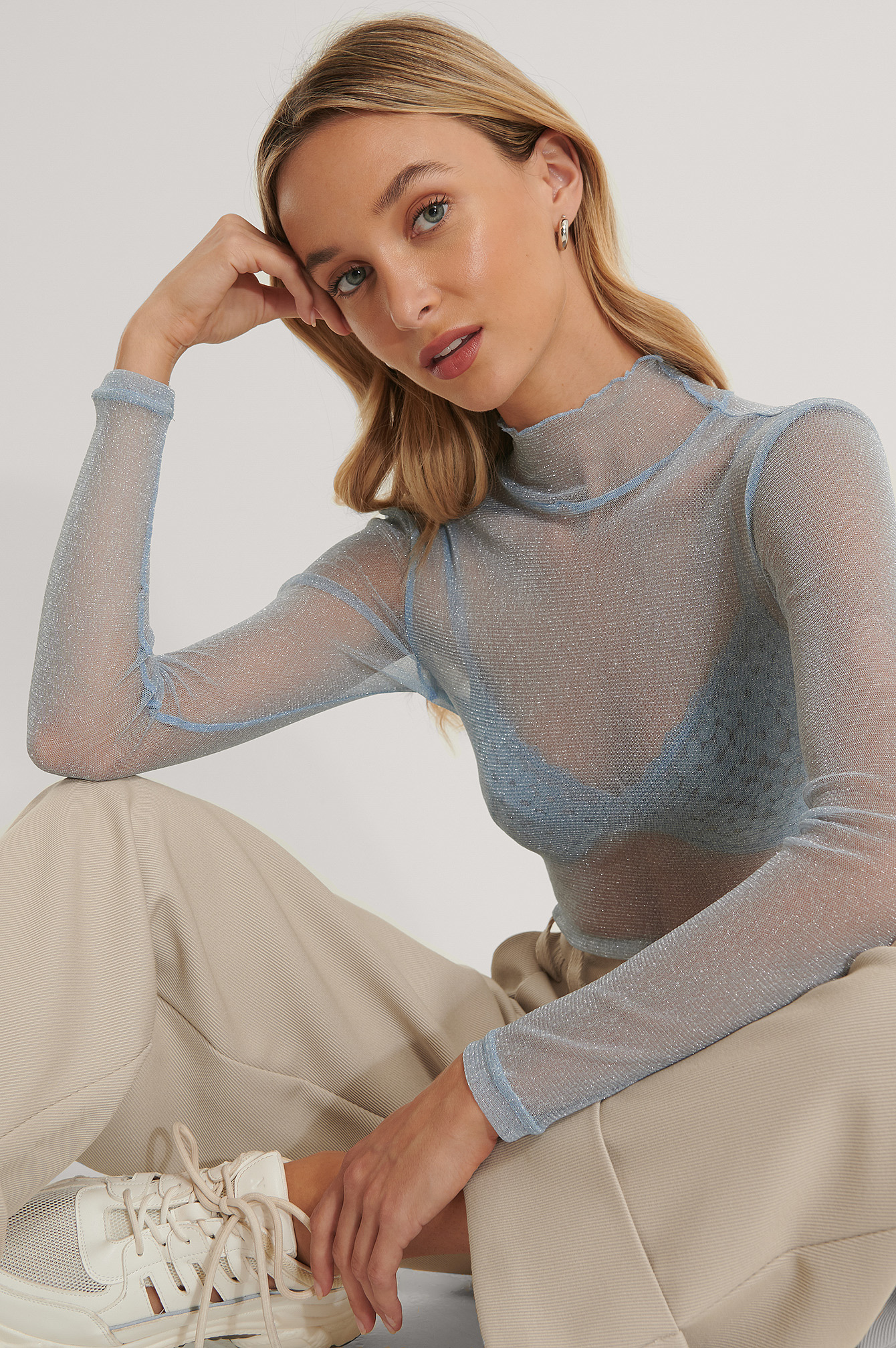 Light Blue Glittery Long Sleeve Top