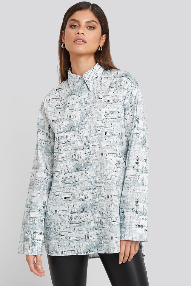 Oversized Printed Cotton Pocket Shirt Green Print