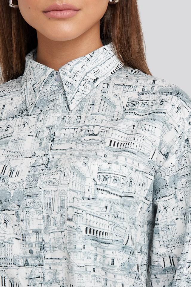 Oversized Printed Cotton Pocket Shirt Green Print