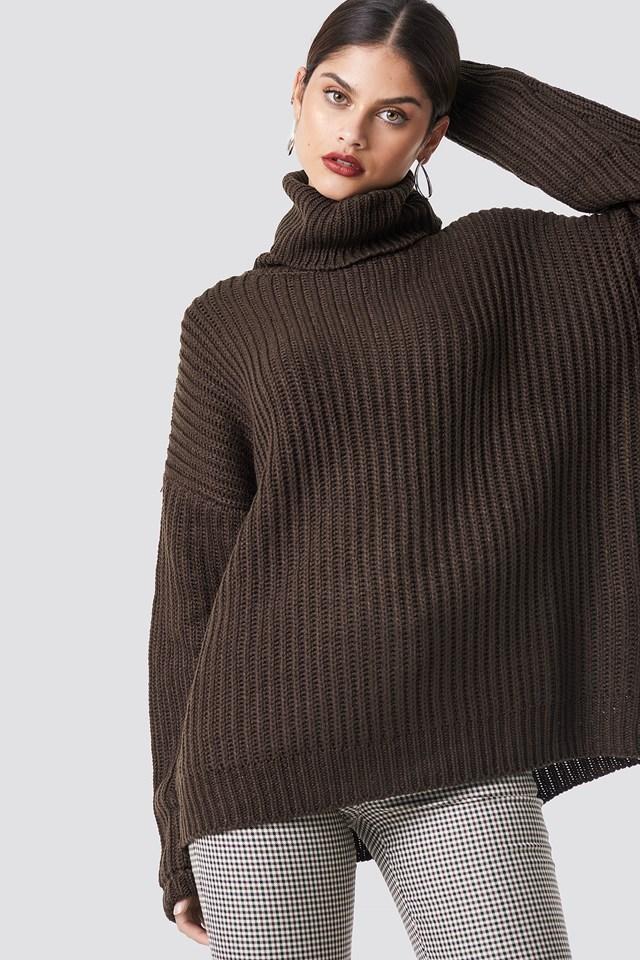 Big Chunky Knitted Sweater Dark Brown